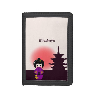 Japanese kokeshi doll at temple during sunset name trifold wallet