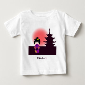 Japanese kokeshi doll name baby girl shirt