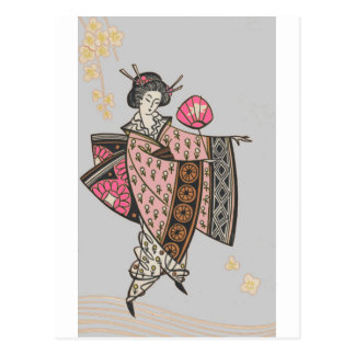 Japanese Lady in Pink Kimono Postcard