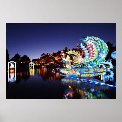 Japanese lanterns at night poster