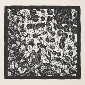 Japanese Leaf Print, Black and White Scarf