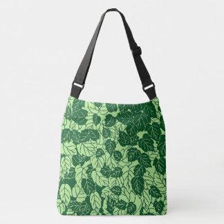 Japanese Leaf Print, Emerald and Lime Green Crossbody Bag