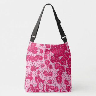 Japanese Leaf Print, Fuchsia and Light Pink Crossbody Bag