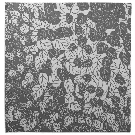 Japanese Leaf Print, Light and Dark Grey / Grey Cloth Napkin