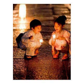 Japanese Little Girls Wearing Kimono Postcard