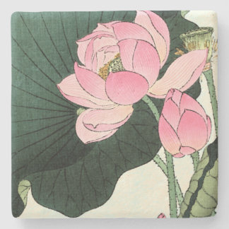 JAPANESE LOTUS FLOWER  Limestone Coaster