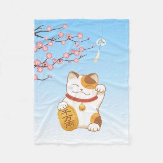 Japanese Lucky Calico Cat, Maneki Neko Fleece Blanket