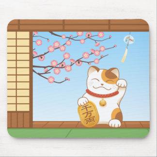 Japanese Lucky Calico Cat, Maneki Neko Mouse Pad