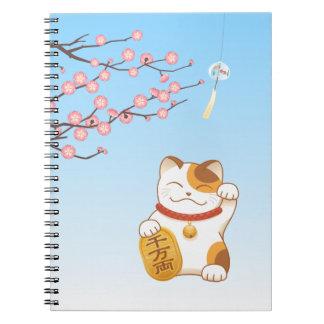 Japanese Lucky Calico Cat, Maneki Neko Notebook