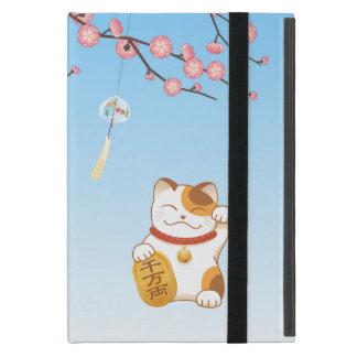 Japanese Lucky Cat, Calico Maneki Neko iPad Mini Cover
