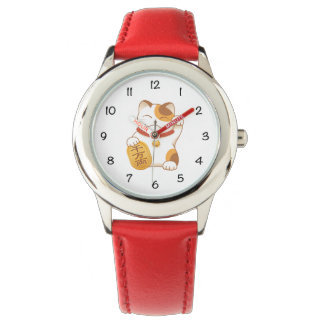 Japanese Lucky Cat, Calico Maneki Neko Wristwatch