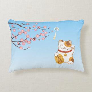 Japanese Lucky Cat, Maneki Neko Accent Pillow