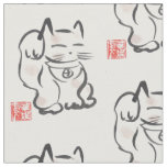 Japanese Lucky Cat Maneki Neko Fabric
