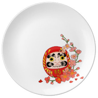 Japanese Lucky Daruma with cherry blossom Plate