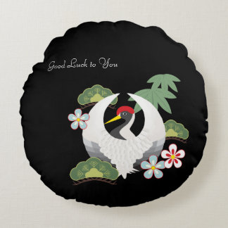 Japanese Lucky Symbols White Crane Bird Black Round Pillow