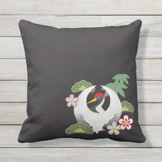 Japanese Lucky Symbols White Crane Black Outdoor Throw Pillow