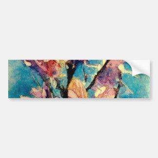 Japanese Magnolia watercolor batik Bumper Sticker
