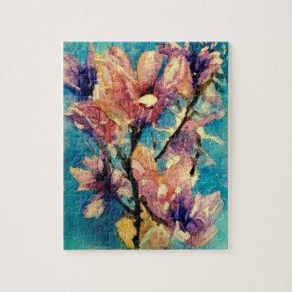 Japanese Magnolia watercolor batik Jigsaw Puzzle
