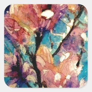 Japanese Magnolia watercolor batik Square Sticker