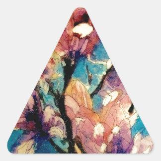 Japanese Magnolia watercolor batik Triangle Sticker