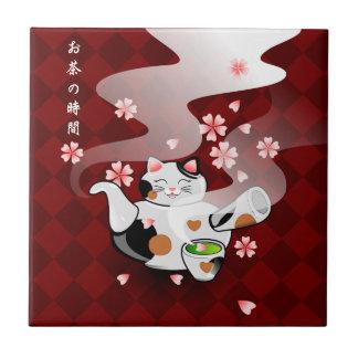 Japanese Maneki Neko Sakura Cat Teapot Rest Tile
