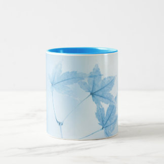Japanese Maple Leaves in Blue Two-Tone Coffee Mug