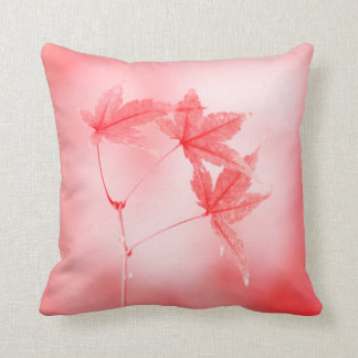 Japanese Maple Leaves in Red Throw Pillow
