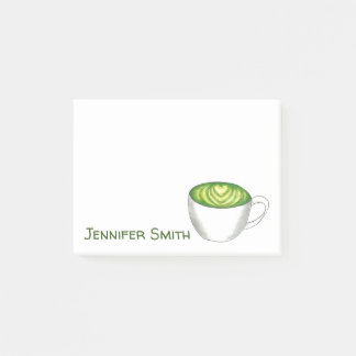 Japanese Matcha Green Tea Latte Drink Personalized Post-it Notes