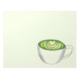 Japanese Matcha Green Tea Latte Teacup Foodie Notepad
