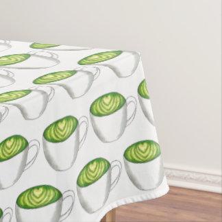 Japanese Matcha Green Tea Latte Teacup Foodie Tablecloth