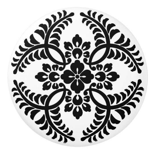 Japanese Medallion Pattern, Black and White Ceramic Knob