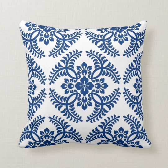 Japanese Medallion Pattern, Cobalt Blue and White Throw Pillow