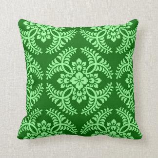 Japanese Medallion Pattern, Dark Jade Green Throw Pillow