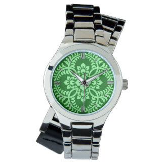 Japanese Medallion Pattern, Dark Jade Green Watch