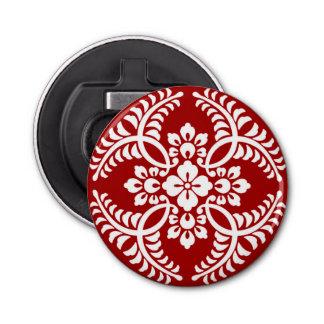 Japanese Medallion Pattern, Deep Red and White Bottle Opener
