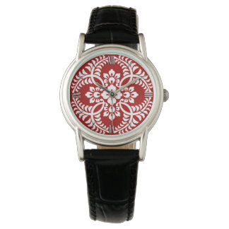 Japanese Medallion Pattern, Deep Red and White Watch