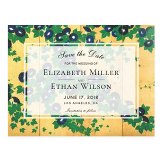 Japanese Morning Glories Save the Date Postcard