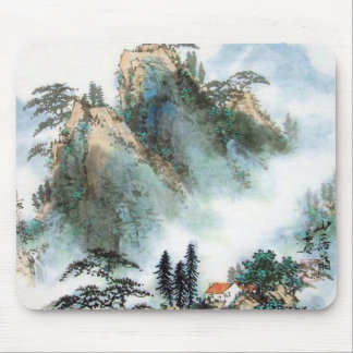 Japanese Mountain Watercolor Mouse Pad