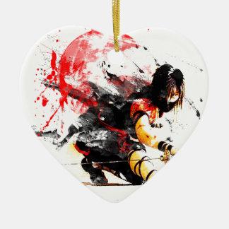 Japanese Ninja Ceramic Heart Ornament