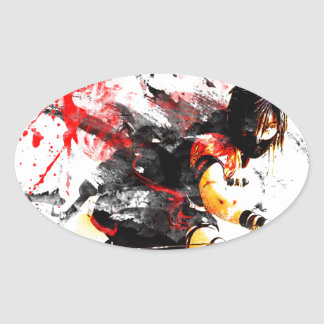Japanese Ninja Oval Sticker