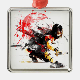 Japanese Ninja Silver-Colored Square Ornament