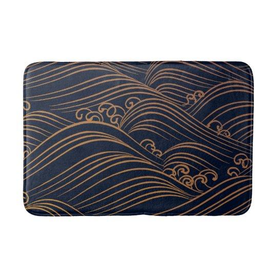 Japanese Ocean Waves Abstract Navy Blue Gold Brown Bath Mat