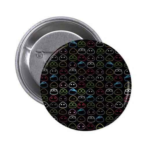 Japanese Onigiri Pattern Fluo on Black Background Pins