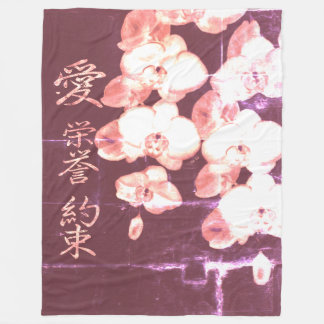 Japanese Orchids Fleece Blanket