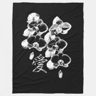 Japanese Orchids in Black Fleece Blanket