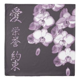 Japanese Orchids in Plum Duvet Cover