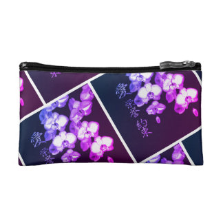 Japanese Orchids in Plum Makeup Bag