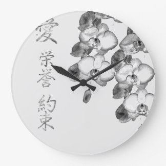 Japanese Orchids Large Clock