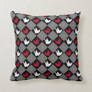 Japanese Origami Cranes Pattern (Orizuru) Throw Pillow