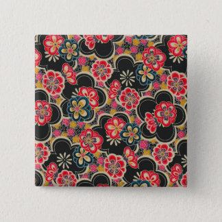 Japanese Origami Design Multi-Color Flowers Kimono 2 Inch Square Button